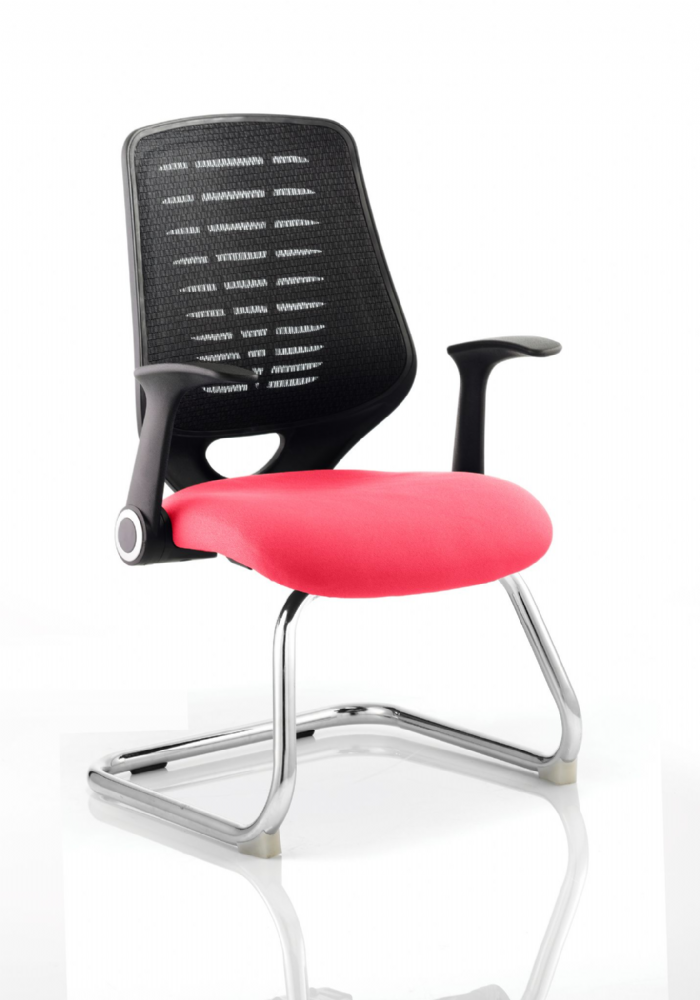 Relay Cantilever Meeting Chair Folding Arms Chrome Frame Black Mesh Back Seat Pad choice of Colours